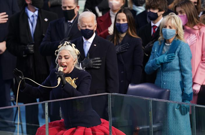 Lady Gaga sings the National Anthem during the inauguration of Joe Biden as the 46th President of the United States on the West Front of the U.S. Capitol in Washington, U.S., January 20, 2021. (Kevin Lamarque/Reuters)