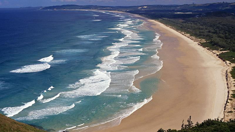 The beaches around Byron Bay, such as Tallow Beach pictured are a popular destination for domestic tourists during the September school holidays.