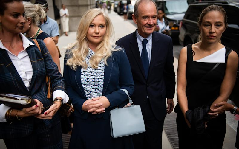 Jeffrey Epstein's alleged victims arrive at federal court in New York in 2019, including Annie Farmer, right, and Virginia Giuffre - Bloomberg