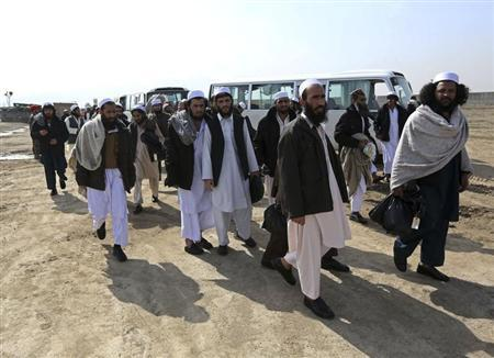 Afghan prisoners walk outside the Parwan Detention Facility after their release in Bagram Airbase