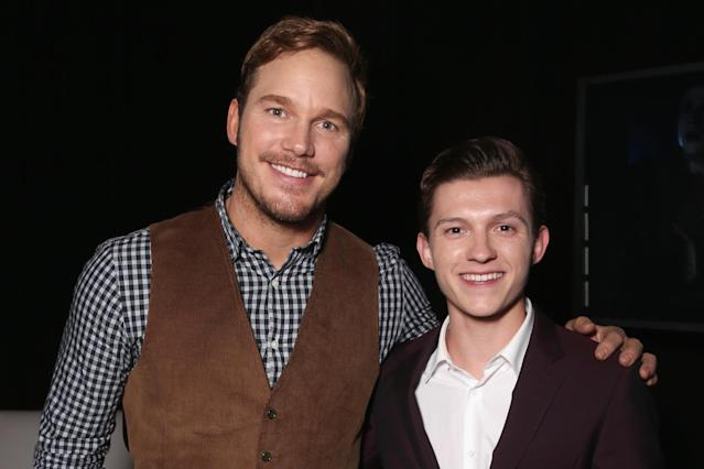 APRIL 12: Actors Chris Pratt (L) and Tom Holland attend CinemaCon 2016. (Todd Williamson/Getty Images for CinemaCon)