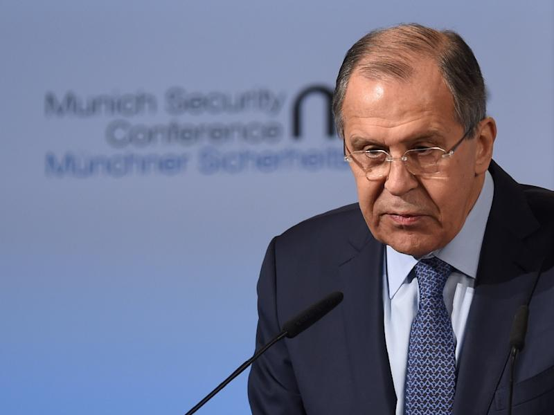 Russian Foreign Minister Sergei Lavrov addresses the Munich Security Conference in southern Germany on February 18, 2017 (AFP Photo/Christof STACHE)