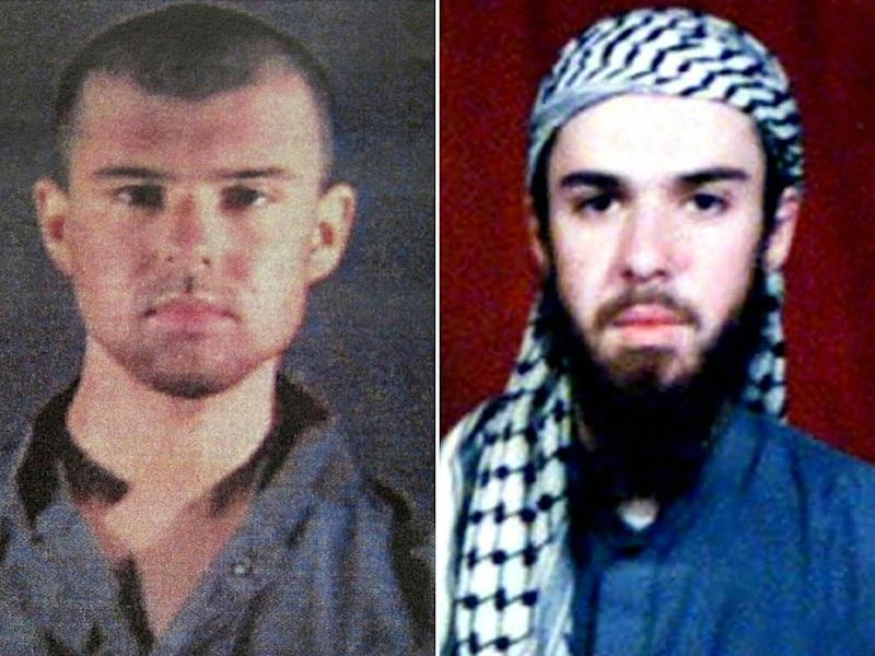 "This combination of pictures shows (L), a police file of ""American Taliban"" John Walker Lindh issued in 2002, and (R) a photograph of him from the records of a Muslim school in Pakistan where he studied for six months"