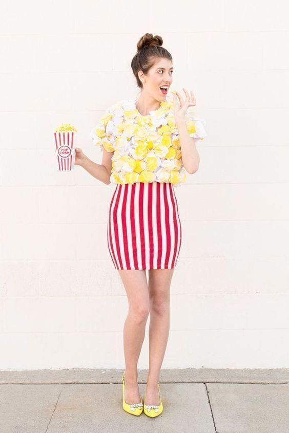 """<p>No circus performance is complete without popcorn to enjoy the show. Butter up your kernels with crumpled computer paper and yellow spray paint. </p><p><strong>See more at <a href=""""https://studiodiy.com/2015/09/27/diy-popcorn-costume/"""" rel=""""nofollow noopener"""" target=""""_blank"""" data-ylk=""""slk:Studio DIY"""" class=""""link rapid-noclick-resp"""">Studio DIY</a>. </strong></p><p><a class=""""link rapid-noclick-resp"""" href=""""https://www.amazon.com/ZeTian-Vertical-Stripe-Casual-Knee-Length/dp/B079HLJXD4/ref=sr_1_5?tag=syn-yahoo-20&ascsubtag=%5Bartid%7C10050.g.29402076%5Bsrc%7Cyahoo-us"""" rel=""""nofollow noopener"""" target=""""_blank"""" data-ylk=""""slk:SHOP STRIPED SKIRTS"""">SHOP STRIPED SKIRTS</a></p>"""