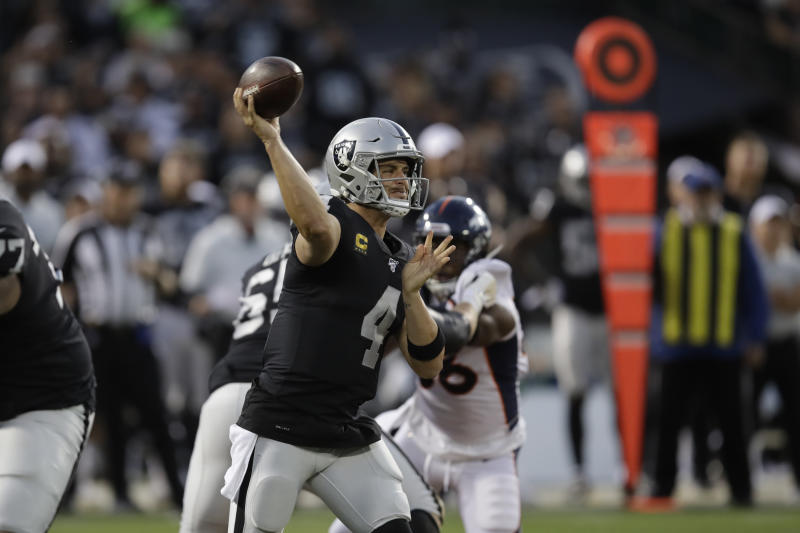 Oakland Raiders quarterback Derek Carr throws during the first half of an NFL football game against the Denver Broncos Monday, Sept. 9, 2019, in Oakland, Calif. (AP Photo/Ben Margot)