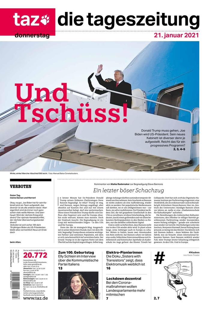 January 21, 2021 front page of Taz - die tageszeitung