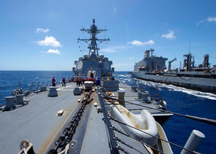 U.S. Navy guided-missile destroyer USS Kidd receives fuel in the Pacific Ocean