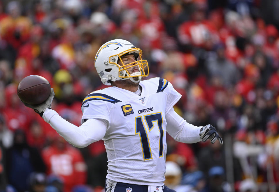 Los Angeles Chargers quarterback Philip Rivers (17) throws against the Kansas City Chiefs during the second half of an NFL football game in Kansas City, Mo., Sunday, Dec. 29, 2019. (AP Photo/Reed Hoffmann)