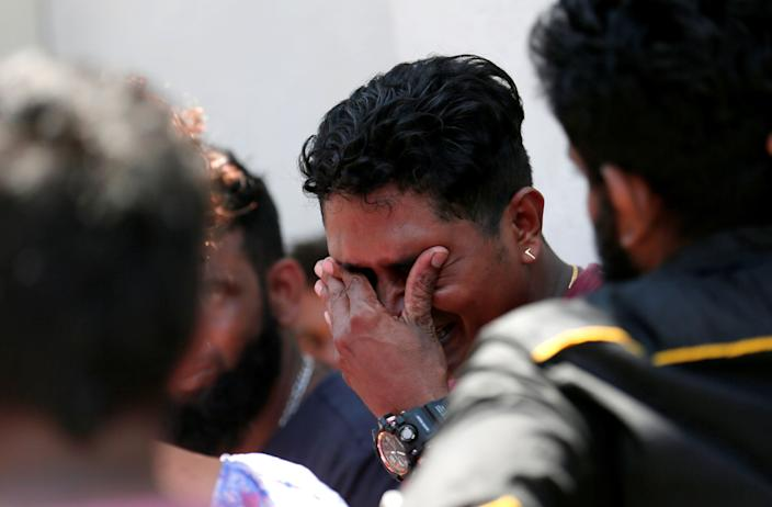 A relative of a victim of the explosion at St. Anthony's Shrine, Kochchikade church reacts at the police mortuary in Colombo, Sri Lanka April 21, 2019. (Photo: Dinuka Liyanawatte/Reuters)