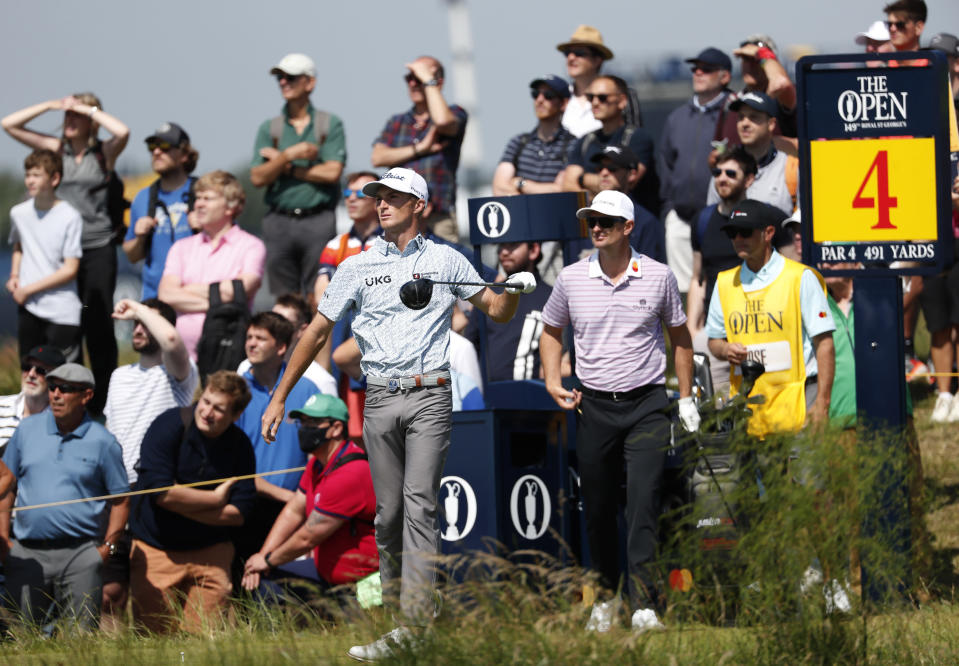 United States' Will Zalatoris reacts after playing his tee shot on the 4th during the first round British Open Golf Championship at Royal St George's golf course Sandwich, England, Thursday, July 15, 2021. (AP Photo/Peter Morrison)