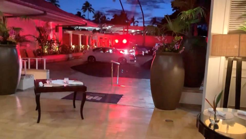 <p>A screenshot of a video posted on Twitter by Elizabeth Ferraro from inside the Kahala Resort & Hotel in Honolulu which went into a ten-hour lockdown on Saturday after a gunman opened fire on staff</p> (Twitter/Elizabeth Ferraro)