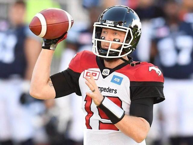 Calgary Stampeders quarterback Bo Levi Mitchell is a finalist for the CFL's outstanding player award. (Canadian Press/Frank Gunn photo)