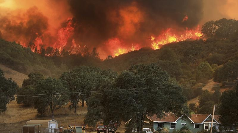 California wildfires raged across the state and caused a total of 6,446 fires that burned an area of 1,500,941 acres, according to official reports, killing 8 civilians and 6 firefighters. AP