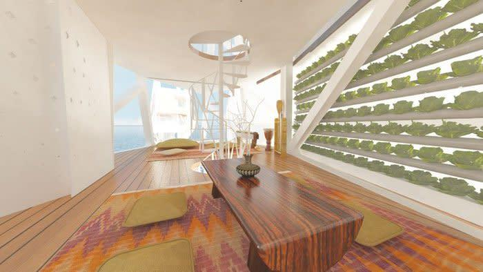 The inside of each floating module would be light, airy, and wonderfully stylish.