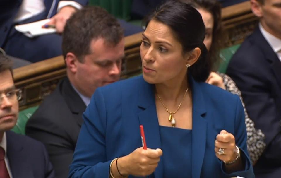 Home Secretary Priti Patel speaks the on the UK points-based immigration system in the House of Commons, London.