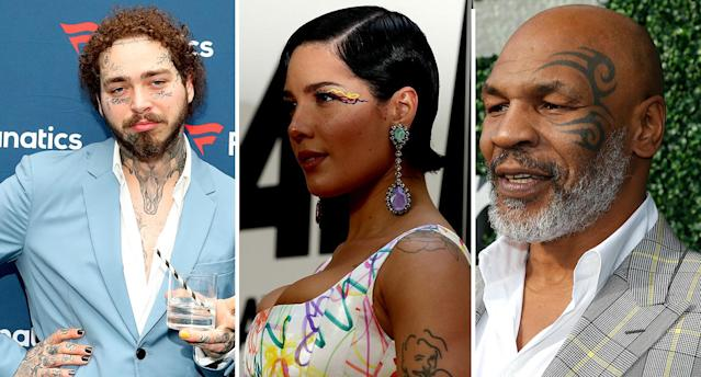 Celebrity face tattoos: From left, Post Malone, Halsey and Mike Tyson all have facial inkings. [Photo: Getty]
