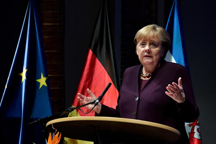 German Chancellor Angela Merkel addresses a New Year reception in her constituency of Stralsund, northern Germany on January 13, 2020. John MacDougall/Pool via Reuters