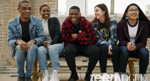 "Clifton Kinnie, Kenidra Woods, Nick Joseph, Natalie Barden, and Jazmine Wildcat are all young gun control activists. (Photo: Tyler Mitchell for  <i>Teen Vogue/</i> <a href=""https://www.instagram.com/tylersphotos/?hl=en"" rel=""nofollow noopener"" target=""_blank"" data-ylk=""slk:@tylersphotos"" class=""link rapid-noclick-resp"">@tylersphotos</a>)"