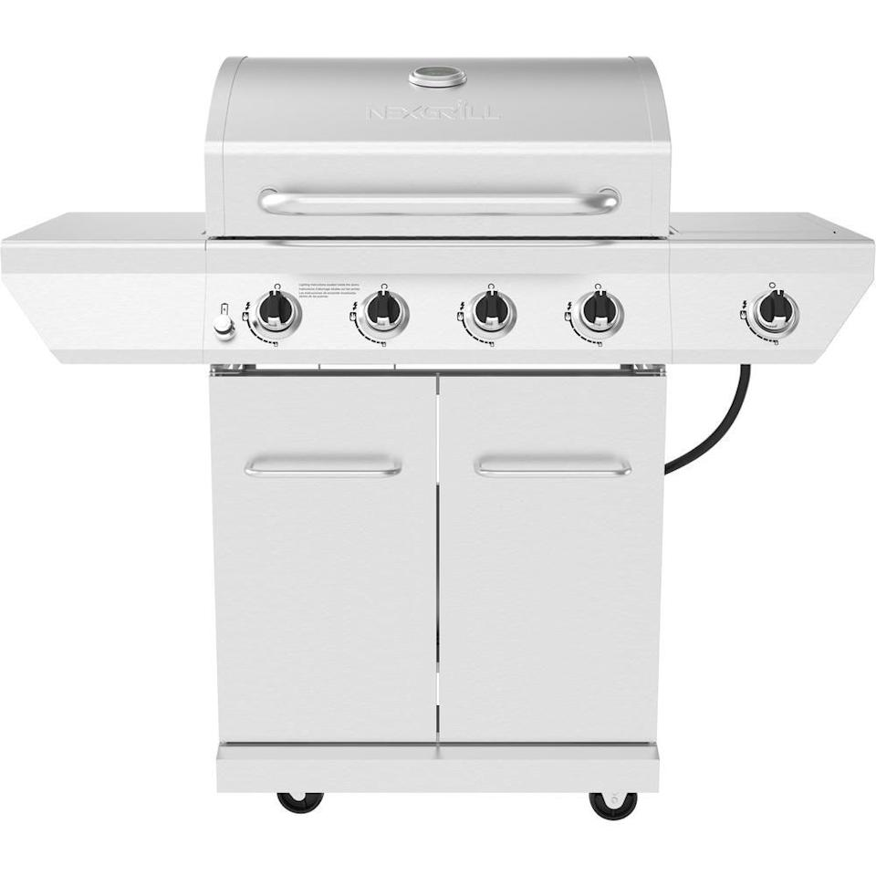 "<p><strong>Nexgrill</strong></p><p>homedepot.com</p><p><strong>$299.00</strong></p><p><a href=""https://go.redirectingat.com?id=74968X1596630&url=https%3A%2F%2Fwww.homedepot.com%2Fp%2FNexgrill-4-Burner-Propane-Gas-Grill-in-Stainless-Steel-with-Side-Burner-720-0830X%2F314142054&sref=https%3A%2F%2Fwww.goodhousekeeping.com%2Fappliances%2Foutdoor-grill-reviews%2Fg2320%2Fbest-outdoor-grills-0611%2F"" rel=""nofollow noopener"" target=""_blank"" data-ylk=""slk:Shop Now"" class=""link rapid-noclick-resp"">Shop Now</a></p><p>It can be tough to find a great quality grill for under $500, but with its gleaming stainless steel, the NexGrill 4-Burner Propane Gas Grill with Side Burner is an A+ choice for the price tag. It delivers <strong>perfect grill marks, a side burner, and </strong><strong>space for 28 (!) burgers</strong>. On the side, there's a burner for heating beans or sauce. And best of all: We saw no smoking or flareups when cooking.</p>"