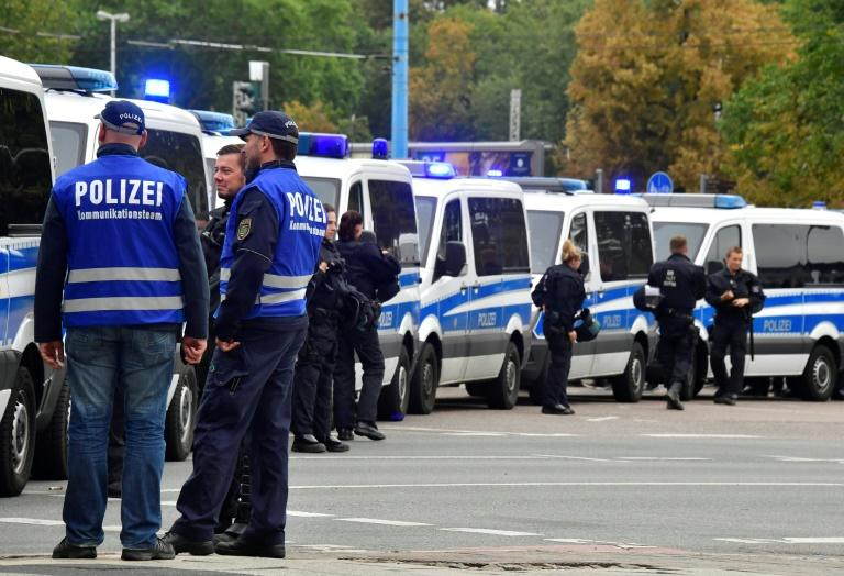 Police block a street in Chemnitz, eastern Germany, on September 1, 2018 ahead of a protest by the far-right Alternative for Germany (AfD) party