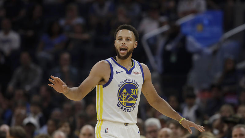 Golden State Warriors guard Stephen Curry against the Los Angeles Lakers during a preseason NBA basketball game in San Francisco, Saturday, Oct. 5, 2019. (AP Photo/Jeff Chiu)