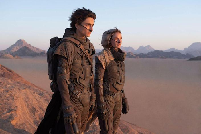 """<p>We've been waiting for <a href=""""https://www.menshealth.com/entertainment/a32141050/dune-movie-trailer-cast-news-release-date/"""" rel=""""nofollow noopener"""" target=""""_blank"""" data-ylk=""""slk:director Denis Villeneuve's take on Dune"""" class=""""link rapid-noclick-resp"""">director Denis Villeneuve's take on <em>Dune </em></a> for quite a while, and, like many films on this list, have had to wait even longer thanks to a COVID-induced delay. That being said: we are still fucking jazzed. Filmed on-location, this has the potential to be one of the hugest and best blockbusters of the century. The cast ain't too shabby either: <a href=""""https://www.menshealth.com/entertainment/a32127926/timothee-chalamet-dune-paul-atreides-first-look/"""" rel=""""nofollow noopener"""" target=""""_blank"""" data-ylk=""""slk:Timothée Chalamet"""" class=""""link rapid-noclick-resp"""">Timothée Chalamet </a>leads, with Oscar Isaac, Rebecca Ferguson, <a href=""""https://www.menshealth.com/entertainment/a34498165/jason-momoa-dune-interview/"""" rel=""""nofollow noopener"""" target=""""_blank"""" data-ylk=""""slk:Jason Momoa"""" class=""""link rapid-noclick-resp"""">Jason Momoa</a>, Josh Brolin, <a href=""""https://www.menshealth.com/entertainment/a28169613/zendaya-euphoria-spider-man/"""" rel=""""nofollow noopener"""" target=""""_blank"""" data-ylk=""""slk:Zendaya"""" class=""""link rapid-noclick-resp"""">Zendaya</a>, <a href=""""https://www.menshealth.com/entertainment/a27702146/chernobyl-stellan-skarsgaard/"""" rel=""""nofollow noopener"""" target=""""_blank"""" data-ylk=""""slk:Stellan Skarsgård"""" class=""""link rapid-noclick-resp"""">Stellan Skarsgård</a> and Dave Bautista among others. </p><p>The scale, cast, and perfect choice of director make this <em>Dune </em>really feel like it could be the first adaptation to live up to Frank Herbert's <a href=""""https://www.amazon.com/Dune-Frank-Herbert/dp/0441172717?tag=syn-yahoo-20&ascsubtag=%5Bartid%7C2139.g.35256582%5Bsrc%7Cyahoo-us"""" rel=""""nofollow noopener"""" target=""""_blank"""" data-ylk=""""slk:novel of the same name"""" class=""""link rapid-noclick-resp"""">novel of the same name</a> (one of"""