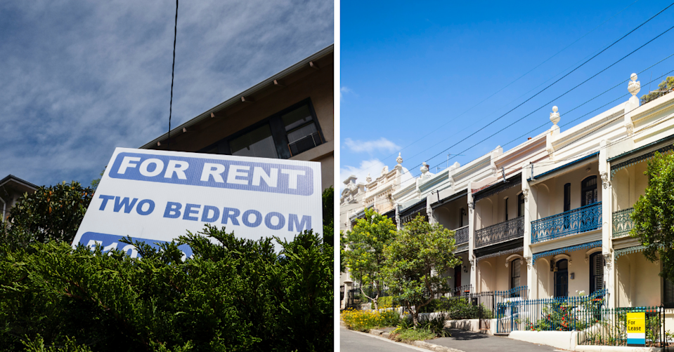 A 'for rent' sign in front of an apartment block and a row of townhouses in Sydney