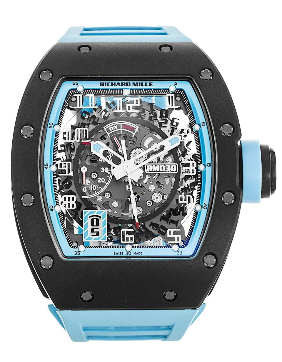 "An example of the Richard Mille's RM-030 ""Argentina"" ripped off a man's arm outside Harrods."