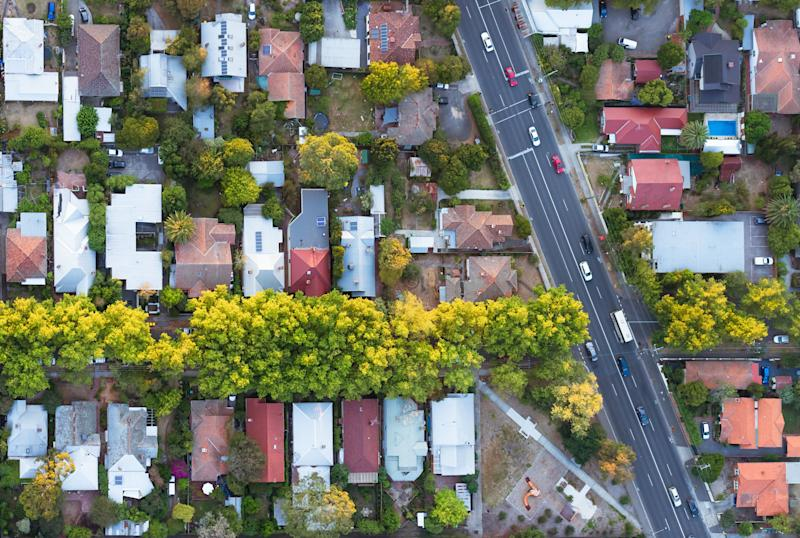 A view from directly above a residential suburb of Melbourne, in Victoria, Australia.