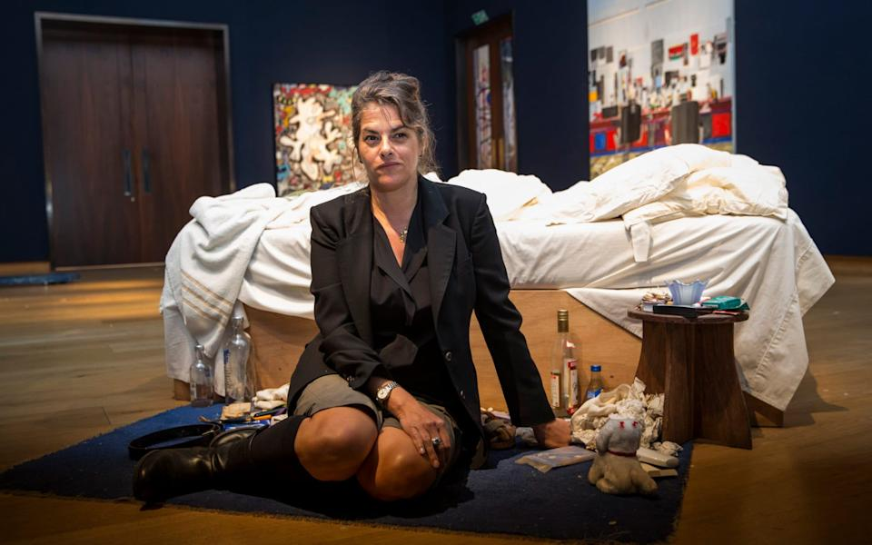 Emin with her artwork My Bed in 2014 - Getty Images