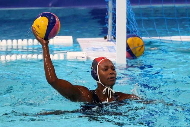 Ashleigh Johnson in action during the U.S. team's historic rout of Japan. (Photo: Clive Rose via Getty Images)