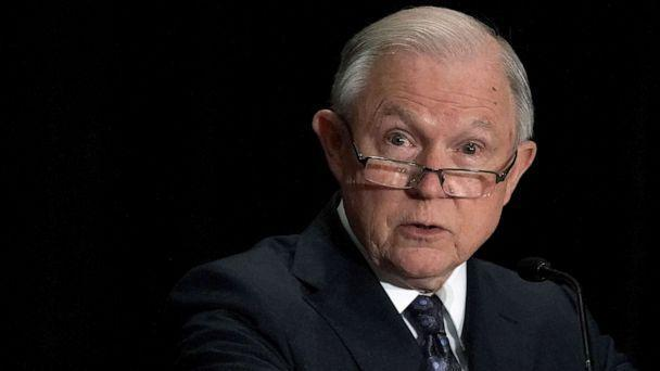 PHOTO: Jeff Sessions delivers remarks at the Justice Department's Executive Officer for Immigration Review (EOIR) Annual Legal Training Program, June 11, 2018, at the Sheraton Tysons Hotel in Tysons, Virginia. (Alex Wong/Getty Images, FILE)
