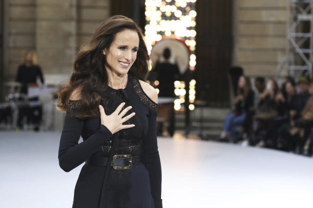 Actress Andie MacDowell wears a creation as part of the L'Oreal Ready To Wear Spring-Summer 2020 collection, unveiled during the fashion week, in Paris, Saturday, Sept. 28, 2019. (Photo by Vianney Le Caer/Invision/AP)