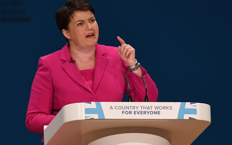 Ruth Davidson has attacked Jeremy Corbyn over his stance about a second independence referendum - Credit: AFP