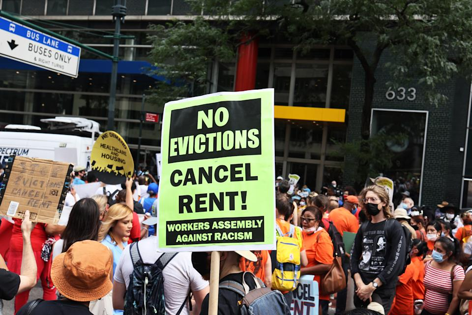NEW YORK, NEW YORK - AUGUST 31: People gather at the New York City office of Gov. Kathy Hochul calling for a stop to evictions on August 31, 2021 in New York City. Housing activists and community members gathered and marched towards the NYC office of Gov. Hochul calling on her, Assembly Speaker Carl Heastie, and Senate Majority Leader Andrea Stewart-Cousins to amend and extend the evictions moratorium, which expires tonight. Rent Stabilization Association, New York's largest landlord group, has threatened to sue the state legislature if lawmakers extend the pandemic-era eviction moratorium. On August 12th, the U.S. Supreme Court ruled against parts of New York's eviction moratorium that allows renters to submit a hardship declaration form stating a loss of income due to the coronavirus (COVID-19) pandemic or that moving would harm their health. (Photo by Michael M. Santiago/Getty Images)