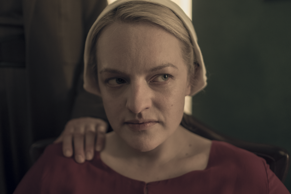 """<p>It only makes sense that, when you're rundown from the men (and, in most cases, their wives) of Gilead impeding your basic human rights, you can see it on your face. That's the exact effect LeBlanc tried to create with the Handmaids: """"One of the main things you see when you're tired is that darkness under the eyes,"""" he said. """"So we used any kind of variation of dark, taupe eye shadows to create that worn out under-eye look. For some of [the Handmaids], depending on if they look too fresh coming in or too well-rested, we'll smudge a little bit of red lip liner in the waterline to make them look like they have been crying or haven't slept."""" </p> <p>(Clearly the team did a great job at achieving that effect, considering the show just picked up two Emmy nominations: the first for <a href=""""https://www.emmys.com/awards/nominees-winners/2020/outstanding-contemporary-makeup-non-prosthetic"""" class=""""link rapid-noclick-resp"""" rel=""""nofollow noopener"""" target=""""_blank"""" data-ylk=""""slk:outstanding contemporary makeup"""">outstanding contemporary makeup</a> and the other for <a href=""""https://www.emmys.com/awards/nominees-winners/2020/outstanding-contemporary-hairstyling"""" class=""""link rapid-noclick-resp"""" rel=""""nofollow noopener"""" target=""""_blank"""" data-ylk=""""slk:outstanding contemporary hairstyling"""">outstanding contemporary hairstyling</a>.)</p>"""