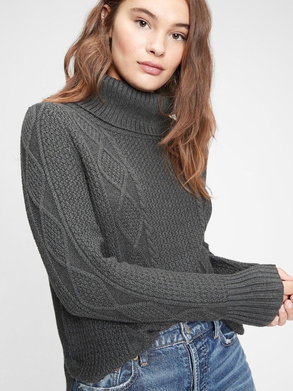 <p>This <span>Gap Cable Knit Turtleneck Sweater</span> ($47) will be your cozy go-to this winter. Solid, reliable, just like ultimate gray!</p>