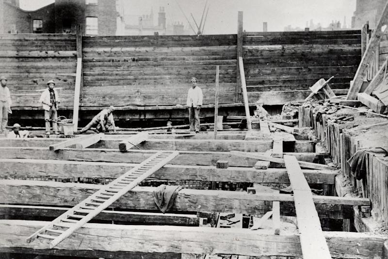 Workers building Gloucester Road station, which opened in 1868, in a photo taken by Henry Flather who documented the District line being built. (London Transport Museum)