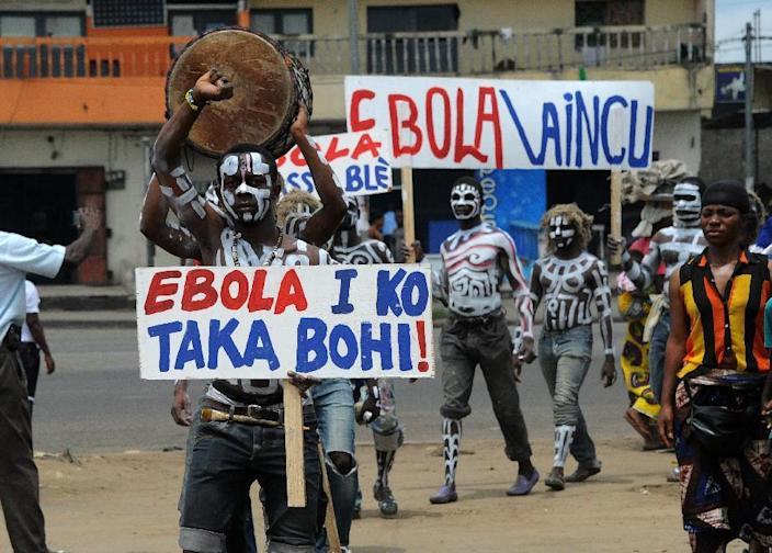 Visual artists rally against the Ebola virus which is effecting neighbouring countries on September 4, 2014, in Abidjan, the capital of the Ivory Coast (AFP Photo/Sia Kambou)