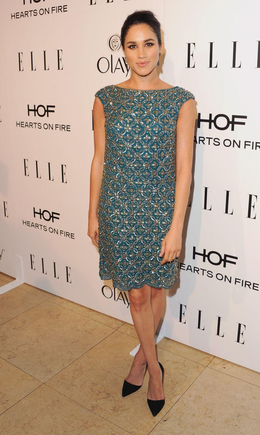 <p>Meghan Markle at the ELLE Women In Television Celebration, January 2014</p>