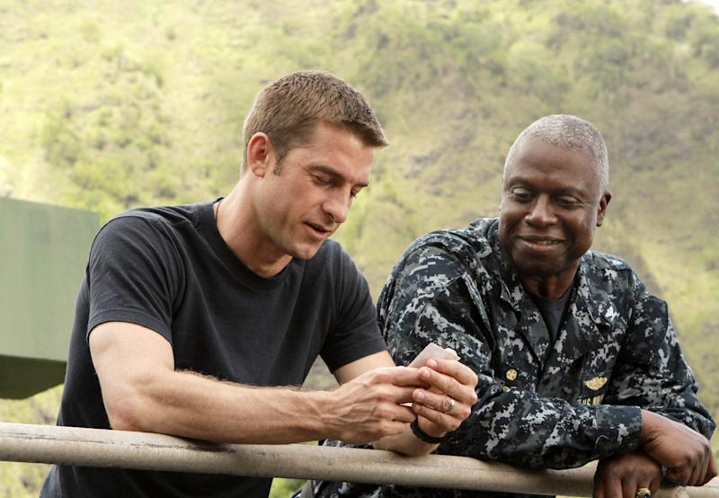 "FILE - This publicity file image released by ABC shows Scott Speedman as Sam Kendal, left, and Andre Braugher as Captain Marcus Chaplin in a scene from the series ""Last Resort,"" which premiered on ABC on Sept. 27, 2012. ABC canceled two low-rated new TV series, ""Last Resort"" and ""666 Park Avenue,"" and didn't announce Friday, Nov. 16, 2012, what will replace the two series after they finish airing. (AP Photo/ABC, Mario Perez, file)"