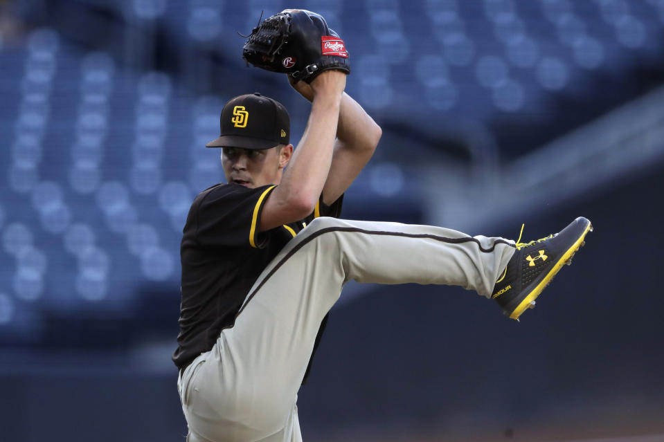 San Diego Padres pitcher MacKenzie Gore winds up during baseball training Thursday, July 16, 2020, in San Diego. (AP Photo/Gregory Bull)
