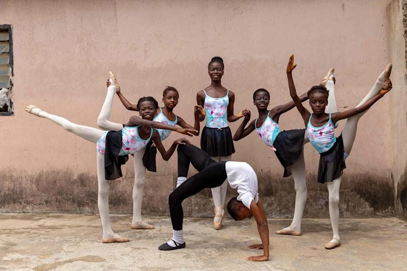Students of the Leap of Dance Academy pose for portrait in at Ajangbadi, Lagos (AFP via Getty Images)