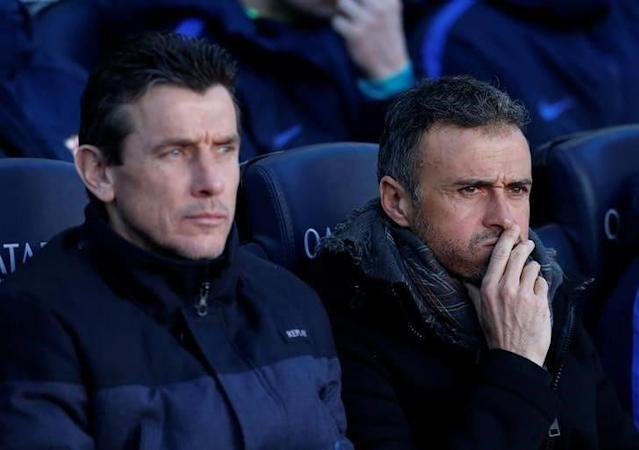 <span>Barcelona's coach Luis Enrique and Juan Carlos Unzue watch their team's match against Las Palmas</span> <span>Credit: Albert Gea/Reuters </span>