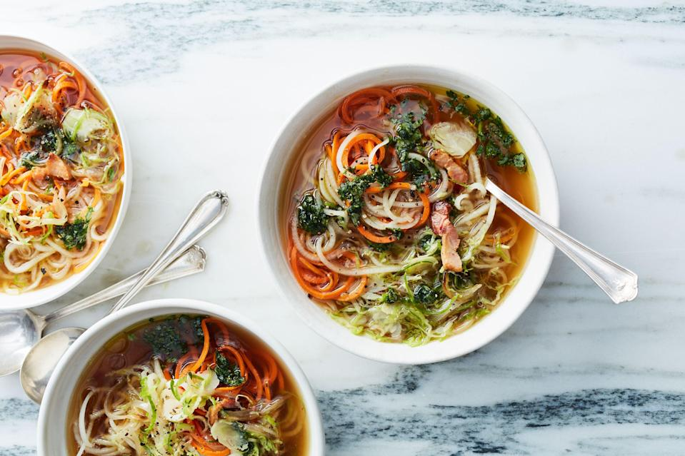 "First of all, zoodle is a made-up word for vegetables that have been cut to look like noodles. Make this recipe vegetarian by substituting 8 oz. fresh shiitake mushrooms in place of the bacon and using a vegetable stock or water. <a href=""https://www.bonappetit.com/recipe/root-vegetable-zoodle-soup-with-bacon-and-basil-oil?mbid=synd_yahoo_rss"" rel=""nofollow noopener"" target=""_blank"" data-ylk=""slk:See recipe."" class=""link rapid-noclick-resp"">See recipe.</a>"