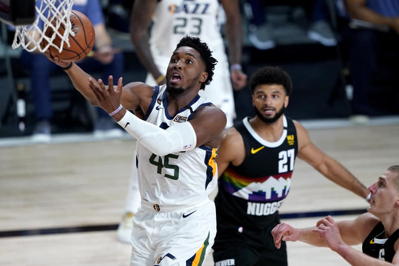 Donovan Mitchell and Jamal Murray have one more game to settle their score. (Ashley Landis-Pool/Getty Images)