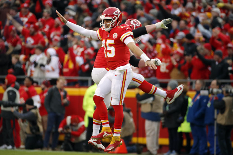 The play of MVP front-runner Patrick Mahomes (15) was one of the highlights of the NFL season. (AP)