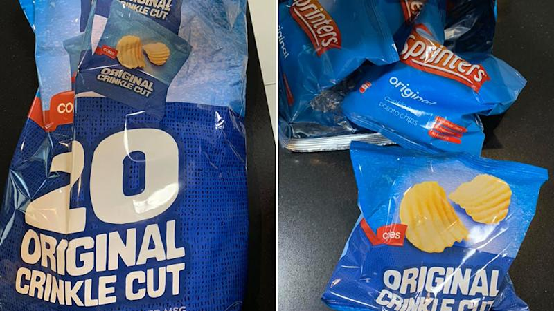 A woman on the Gold Coast quite literally had a mixed bag of chips. Source: Facebook / Joanna Moyle.