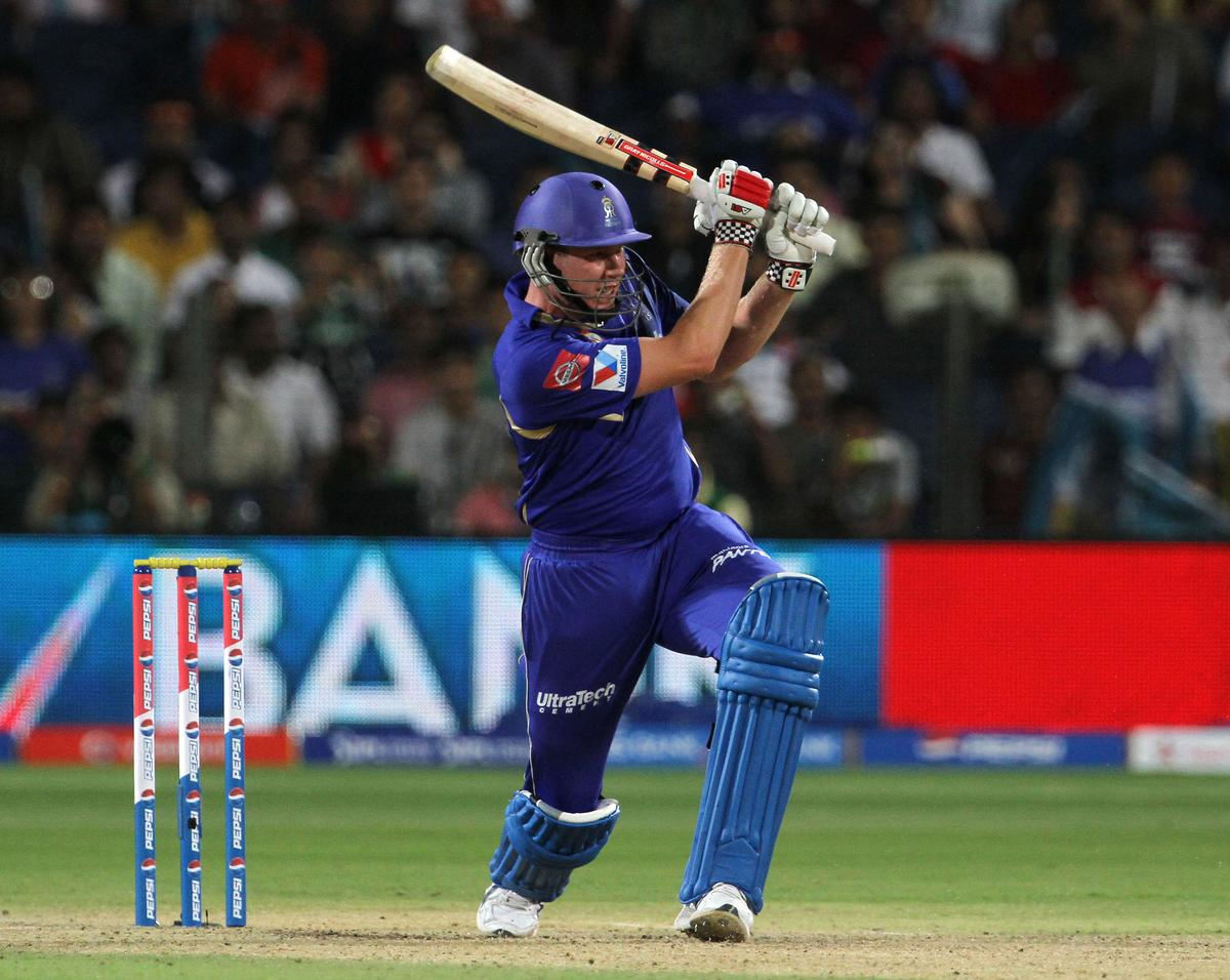 Rajasthan Royals player James Faulkner plays a shot during match 13 of the Pepsi Indian Premier League ( IPL) 2013  between The Pune Warriors India and the Rajasthan Royals held at the Subrata Roy Sahara Stadium, Pune on the 11th April  2013..Photo by Vipin Pawar-IPL-SPORTZPICS ..Use of this image is subject to the terms and conditions as outlined by the BCCI. These terms can be found by following this link:..https://ec.yimg.com/ec?url=http%3a%2f%2fwww.sportzpics.co.za%2fimage%2fI0000SoRagM2cIEc&t=1506301656&sig=kw7Tlchcfs_08yvgyOzjKA--~D