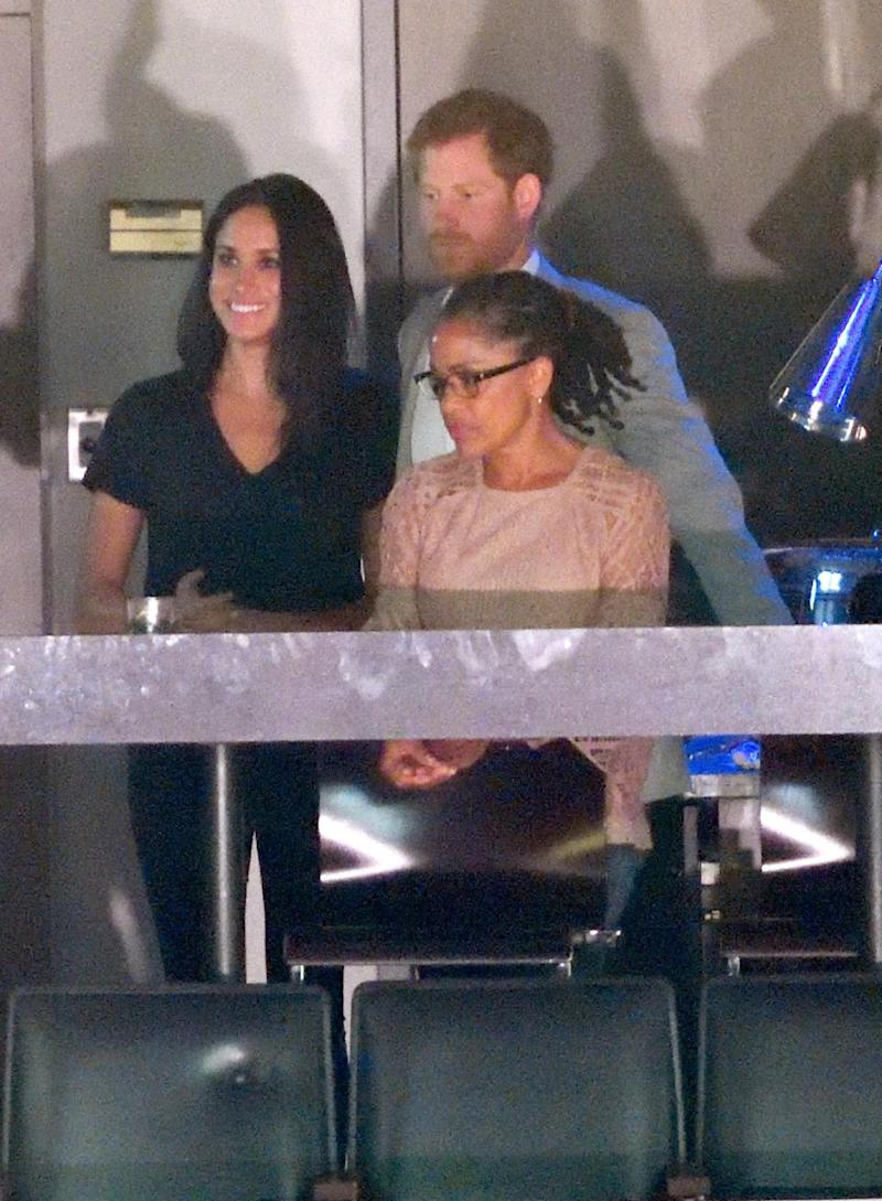 Meghan and Harry were spotted with Doria at the Invictus Games last year. Photo: Getty